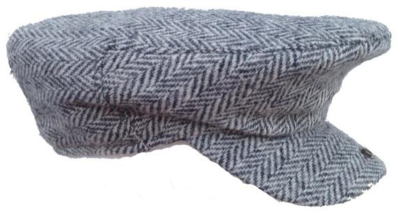 ... Grey and White Herringbone Scally Cap- Handwoven Scottish Tweed ... efce4c5e0d6