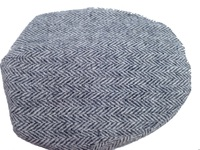 Grey and White Herringbone Scally Cap- Handwoven Scottish Tweed