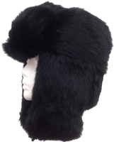 Black Rabbit Fur Trooper - Bombardier Aviator Hat
