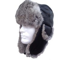 Black Sheepskin Leather with Silver Rabbit Fur Trooper - Bombardier Hat