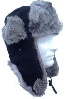 Real Silver Rabbit and Black Nylon Shell Fur Trooper-Aviator Hat