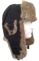 Real Tan Rabbit and Black Nylon Shell Fur Trooper-Aviator Hat