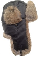 Brown Sheep Skin Leather and Real Tan Rabbit Fur Trooper - Aviator Hat