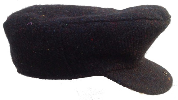Black 100% Scottish Wool Flat Cap- Made from Hand Loomed Harris Tweed    That Way Hat. New d27dd568067