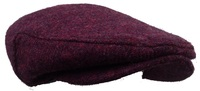 Maroon 100% Scottish Wool Tweed Flat Ivy Cap