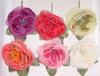 Velvet & Organdy Rose With Beads For Bridal Or Hair Accessory
