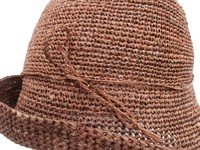 Brown Crocheted Raffia Straw Foldable Hat