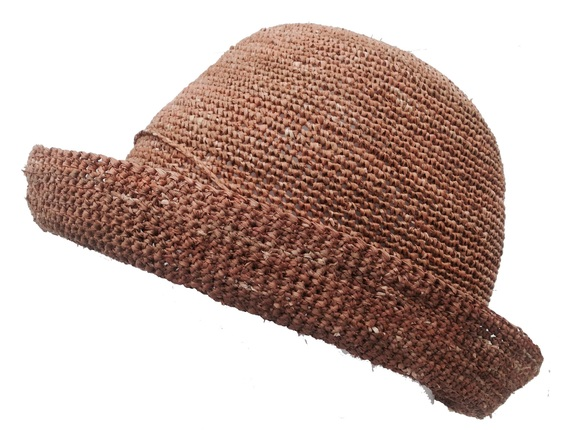 a364adb5a9f Brown Crocheted Raffia Straw Foldable Hat   That Way Hat. New