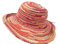 Multicolor Red Crochet Straw Raffia Hat