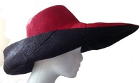 Mena Mainty -  Red Outside and Black Raffia Sun Hat