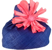 Bright Orange Silk Poppy on Blue Madagascar Hat