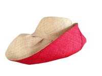 Wide Natural & Reddish - Orange Madagascar Raffia Hat