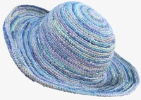 XXL Head Size Mixed Blues Crochet Raffia Straw Hat