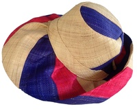 Red, Blue and Natural Campaign / Americana Striped Madagascar Hat with Hidden Pocket