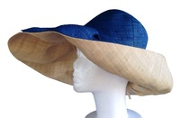 Blue and Natural Raffia Sun Hat from Madagascar