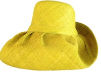 Yellow Raffia Wide Brim Sun Hat