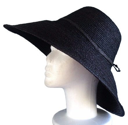 57dc4e4fa96 Black Raffia Braid Madagascar Hat - Large Size   That Way Hat. New ...