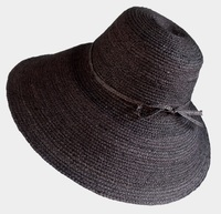 Black Raffia Braid Madagascar Hat - Large Size