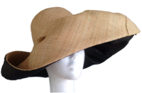 Natural Outside and Black Madagascar Hat - with Hidden Pocket (for Women)