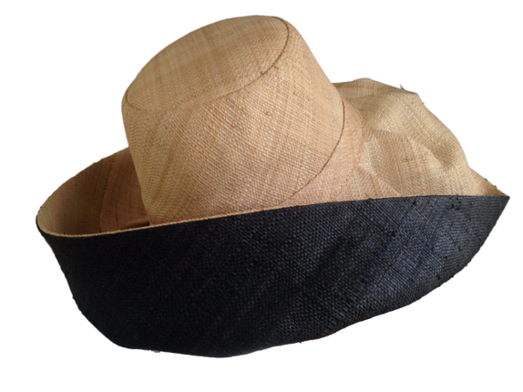 ... Natural Outside and Black Madagascar Hat - with Hidden Pocket (for Women)  ... 67ae50b6cbd5