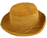 Golden Yellow Crocheted Raffia Straw Foldable Hat