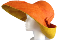 Orange and Yellow Madagascar Raffia Hat
