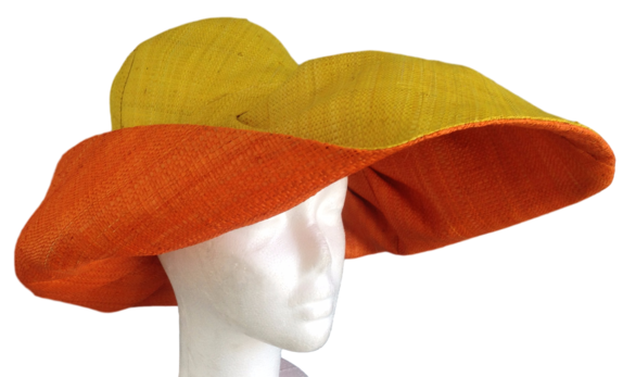 978828ad Mavo Volomboasary Yellow Outside Orange Inside Raffia Madagascar Women's  Sun Hat : That Way Hat. New, Hand Crafted and Custom Millinery - Online