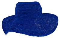 Lolo Manga Blue Wide Crocheted Raffia Straw Hat - from Madagascar