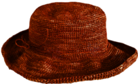 Utan Volomboasary Brown-Orange Wide Crocheted Raffia Straw Hat - from Madagascar