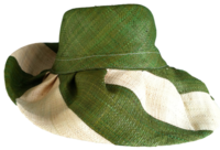 Androngo Maitso Dark Green and Natural Stripes Raffia Sun Hat - Secret Pocket