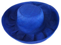 "Ahidrano Manga Indigo 5.5"" Brim Blue Raffia Madagascar Sun Hat - Secret Pocket"