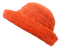 Foldable Orange Round Crocheted Madagascar Raffia Hat