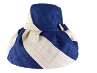 Manga Dian-Kapoka Dark Blue and Natural Stripes Raffia Sun Hat - Secret Pocket