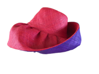 Red Outside and Purple Madagascar Raffia Sun Hat
