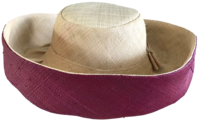 Wine Red and Natural Madagascar Hat - with Hidden Pocket
