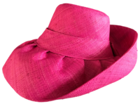 "Pink 5"" Brim Madagascar Raffia Hat - with Hidden Pocket"