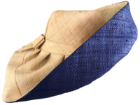 Natural Out / Navy Blue In Madagascar Raffia Sun Hat