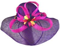 Purple Sinamay Hat - with Flowers