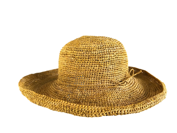 3bc7ce4ce Golden Yellow Saffron Crocheted Raffia Straw Foldable Hat