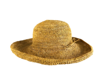 Golden Yellow Saffron Crocheted Raffia Straw Foldable Hat