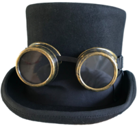Steampunk - Glasses -Black Medium Size Top Hat