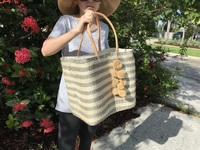 Grey Stripes Sisal Beach Bag - Large Size