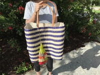Dark Blue Stripes Sisal Beach Bag - Large Size