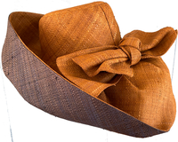 Tobacco/ Black Madagascar Raffia Sun Hat with Big. Ow